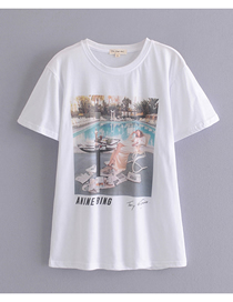 Fashion Photo Color Swimming Pool Print Round Neck Pullover T-shirt Top