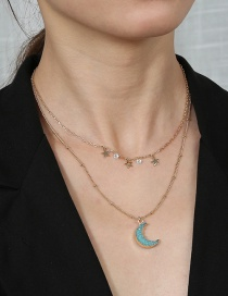 Fashion Gold Color Chain Moon Little Star Resin Alloy Double Necklace
