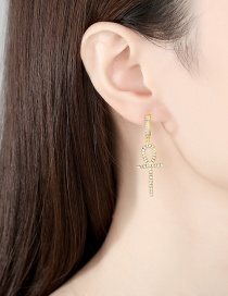 Fashion Gold Color Copper Inlaid Zircon Cross Earrings