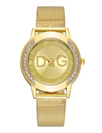 Fashion Gold Color Bilateral Diamond Mesh Belt Diamond Letter Watch