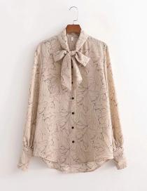 Fashion Printing Bow Lantern Sleeve Print Shirt