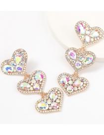 Ab Color Multi-layer Love Alloy Diamond Earrings