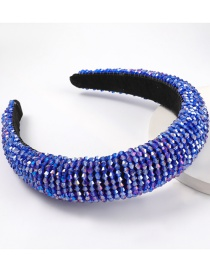 Dark Blue Acrylic Wide Brim Sponge Crystal Beaded Headband