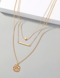 Fashion Gold Color Multilayer Necklace With Geometric Pineapple Pendant