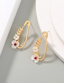 Fashion Gold Color Flower And Leaf Alloy Hollow Earrings