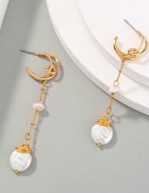 Fashion Gold Color Tassel Moon Long Freshwater Pearl Geometric Earrings