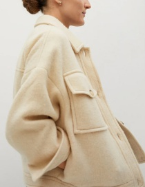 Fashion Creamy-white Loose Solid Color Jacket With Lapel