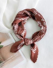Fashion Double Cashew Caramel Pleated Silk-like Printed Small Square Scarf