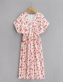 Fashion Printing Flower Print V-neck Waist Dress