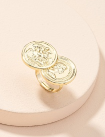 Fashion Golden Color Double Coin Embossed Portrait Open Ring
