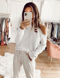 Fashion White Off-the-shoulder Ripped Round Neck T-shirt Top