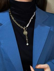 Fashion Golden Pearl Letter Medallion Pendant Necklace