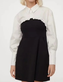 Fashion Black And White Contrasting Color Shirt Suspender Dress Two-piece Suit