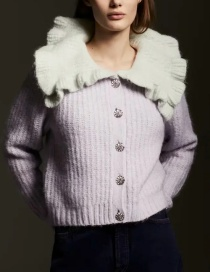 Fashion Purple Contrasting Collar Single-breasted Knitted Jacket