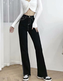 Fashion Photo Color Slim High-waisted Top-stitched Raw Hem Jeans
