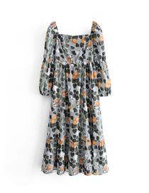 Fashion Photo Color Lemon Leaf Print Square Neck Elastic Back Dress