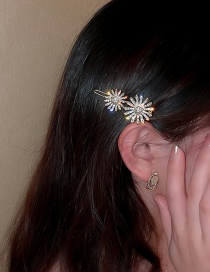 Fashion Two Flower Hairpins Two Shining Diamond Daisy Snowflake Hairpin