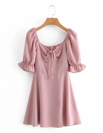 Fashion Pink Puff Sleeve V-neck Tie Dress