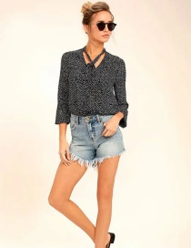 Fashion Black Printed Polka-dot Buckle Lace V-neck Shirt