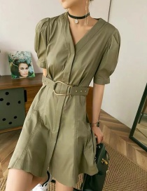 Fashion Army Green Puff Sleeve V-neck Short Sleeve Dress