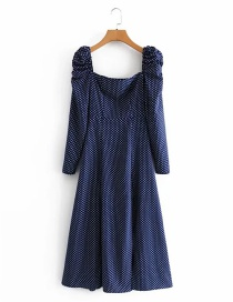 Fashion Navy Blue Polka Dot Print Back Elastic Dress