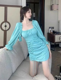 Fashion Blue Square Neck Puff Sleeve Waist Dress