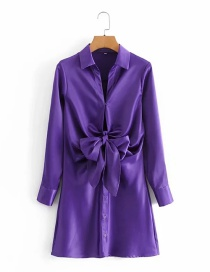 Fashion Purple Satin Lace-up Shirt Dress With Waist Bow