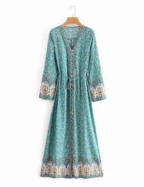 Fashion Green Aster Print Long Sleeve Lace Up Dress