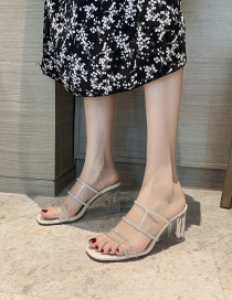 Fashion Off White Transparent Word Thick High Heel Sandals And Slippers With Rhinestones