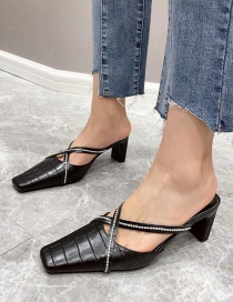 Fashion Black Square Toe Baotou Cross Strap With Rhinestones And Zebra Print Sandals And Slippers