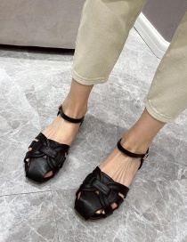 Fashion Black Hollow Woven Round Toe Buckle Flat Shoes