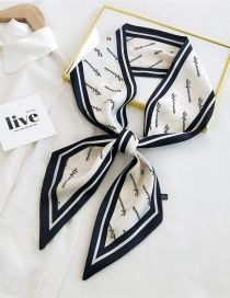 Fashion 11ge Rice Bottom Long Thin-edged Printed Letter Silk Scarf