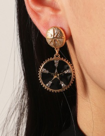 Fashion Five-pointed Star Coin Drop Oil Star Moon Earrings