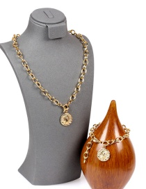 Fashion Set-a Thick Chain Diamond Round Necklace And Bracelet Set