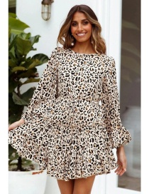 Fashion Printing Animal Print Ruffled Lace Long Sleeve Dress