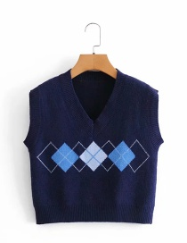 Fashion Navy V-neck Diamond Knit Vest