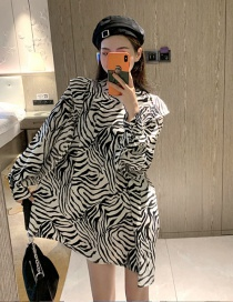 Fashion Zebra Pattern Zebra Print Padded Shoulder Puff Sleeve Dress
