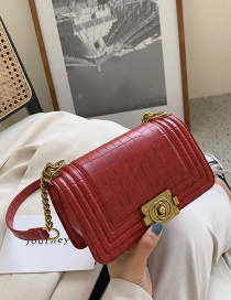 Fashion Red Chain Stone Pattern Single Shoulder Messenger Small Square Bag