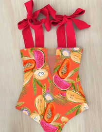 Fashion Fruit Red Printed Ruffled One-piece Swimsuit