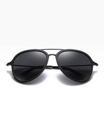 Fashion Sand Black/full Gray Polarized Tr90 Large Frame Sunglasses