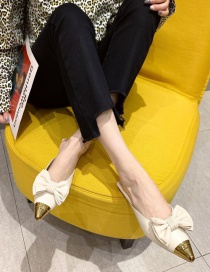 Fashion White Pointed Shallow Mouth Chunky Heel Suede Shoes