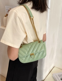 Fashion Green Lingge Embroidery Thread Texture Chain Shoulder Messenger Bag