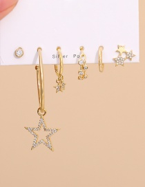 Fashion Golden Set Of 6 Copper Inlaid Zircon Five-pointed Star Stud Earrings