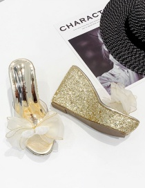 Fashion Gold Color Wedge Heel Platform Transparent Bow Fish Mouth Slippers