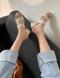 Fashion Off White Mid-heel Open-toe Slippers