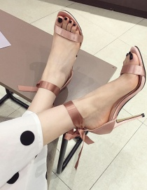 Fashion Pink Bow High Heel Lace Sandals
