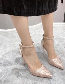 Fashion Apricot Pointed Hollow Breathable Rhinestone Buckle Stilettos