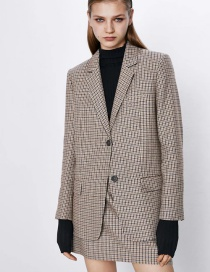 Fashion Brown Houndstooth Casual Suit Jacket