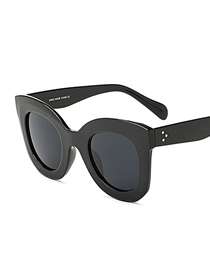 Fashion C4 Bright Black/full Gray Large Frame Butterfly Sunglasses