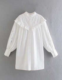 Fashion White Hollow Embroidery Loose Dress
